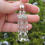 Crystal quartz, aquamarine chandelier earrings sterling silver --Nuvola--