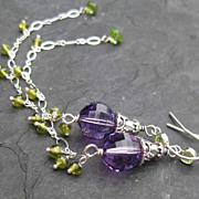 Shoulder duster earrings sterling silver amethyst peridot  --Jelsomino--