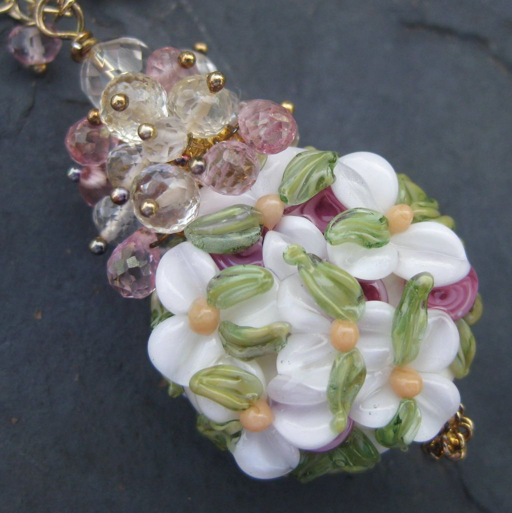 Lampwork bead necklace, pink quartz, scapolite, 14k gold fill --Lavinia--