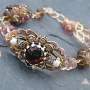 Andalusite, pink tourmaline bracelet with vintage brooch, 14k gold fill --Isobel--