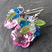 Pink topaz earrings sterling silver peridot apatite garnet moonstone flower --Blossom--