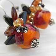 Orange glass bead earrings in sterling silver carnelian citrine --Cackle--