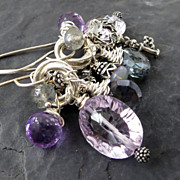 Gemstone tassel earrings sterling silver purple amethyst opal skeleton key charm --Fanfare--