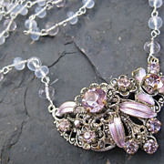 Periwinkle holly chalcedony necklace with vintage rhinestone focal --Larkspur--