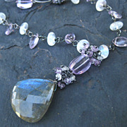 Labradorite necklace with pink amethyst, moonstone oxidized sterling silver --Elena--
