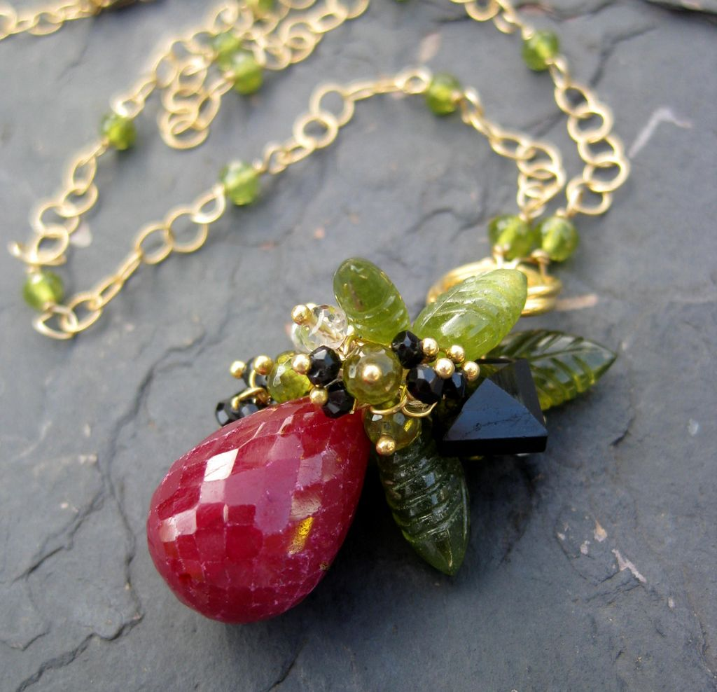 Ruby necklace 14k gold fill woodland leaves fairy tale sleeping beauty -- Rose Red --