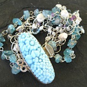 Apatite, blue topaz bracelet with cultured drusy pearls --Elizabeth--