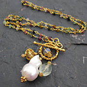 Cultured freshwater Baroque pearl necklace tourmaline necklace in 14k gold fill --Cygnet--
