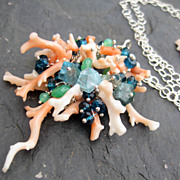 Vintage angel skin coral necklace aquamarine london blue topaz --Magdalaine--