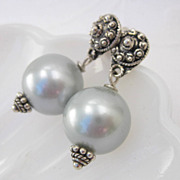 Gray shell pearl earrings post style sterling silver studs --South Seas--