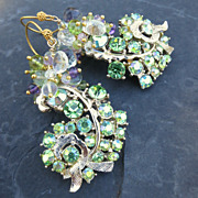 Peridot, amethyst earrings with vintage rhinestone fronds --Fern--