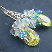 Apatite, quartz, moonstone earrings sterling silver chartreuse electric blue --Citron--