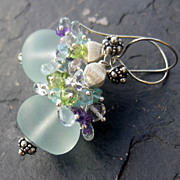 Chalcedony, aquamarine earrings sterling silver --Acapulco--