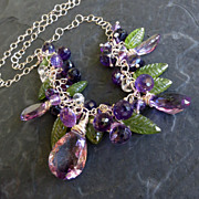 Moss amethyst necklace peridot leaves sterling silver --Nysa--