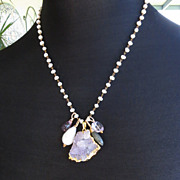 Amethyst cluster, cultured freshwater baroque pearl necklace statement labradorite 14k gold fi
