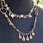 Gemstone statement necklace ruby smoky quartz gold vermeil pink quartz whimsical flapper style