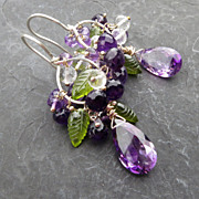 Moss amethyst earrings peridot leaves sterling silver --Nysa--
