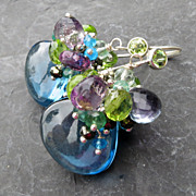 London blue quartz earrings amethyst emerald peridot aquamarine --Kensington--