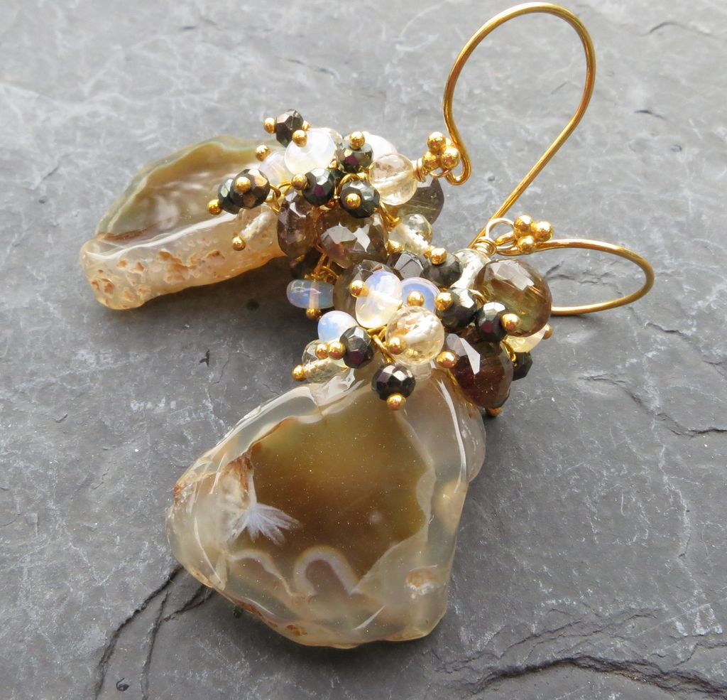 Ethiopian opal, pyrite, brown stalactite tip earrings gold vermeil --Caf� au Lait--