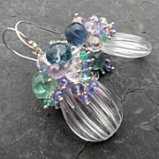 Crystal quartz, pink amethyst, tanzanite earrings emerald sterling silver --Titanica--