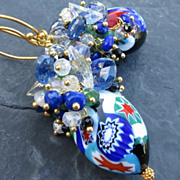 SOLD Vintage Venetian bead earrings lapis lazuli emerald kyanite --Queen Califia--