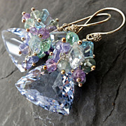 Sky blue topaz earrings in sterling silver with tanzanite aquamarine amethyst statement earrin
