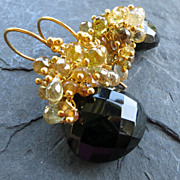 SOLD Black spinel, golden sapphire earrings hessonite garnet gold vermeil --Belle �poque--