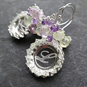 Vintage glass monogram earrings sterling silver amethyst personalized initial --Romantica--