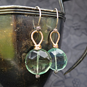 Green gemstone earrings 14k gold fill sterling silver mixed metals --Fresca--