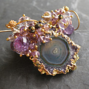 Amethyst stalactite earrings gemstone jewelry --La Sirena--