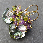 Green amethyst earrings gold vermeil pink amethyst pyrite --Thornfield--
