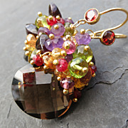 Smokey quartz earrings garnet amethyst ruby citrine peridot 14k gold fill --Vin Brul�--