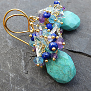 Turquoise earrings amethyst lapis lazuli apatite tanzanite --Anacapri--