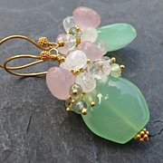 Mint green chalcedony, moonstone earrings moss aquamarine gold vermeil --Phlox--