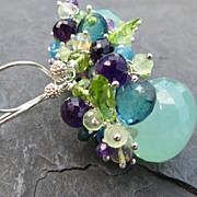 Aqua chalcedony earrings sterling silver amethyst opal peridot mixed gemstone -Filicudi-