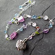 Gemstone charm necklace sterling silver blue topaz amethyst --Fly Away--