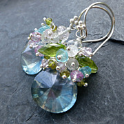 Teal quartz earrings in sterling silver with peridot, amethyst --Kate--