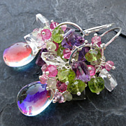 Rainbow quartz, peridot, pink topaz earrings sterling silver --Glinda--
