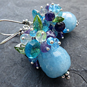 Aquamarine earrings in sterling silver, amethyst, peridot --Acapulco--