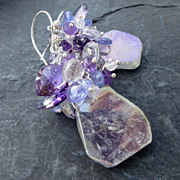 Rainbow quartz, moss amethyst earrings in sterling silver, tanzanite --Sirena--