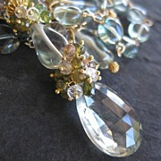 Green amethyst necklace with london blue --Chantal--