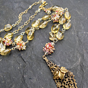 Gold gemstone beaded necklace with spinel in 14k gold fill --Sybil--