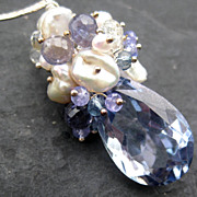 Periwinkle quartz, cultured pearl necklace --Silvia--