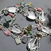 SALE PENDING Tourmaline necklace with crystal quartz, silver --Confetti--
