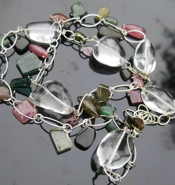 Tourmaline necklace with crystal quartz, silver --Confetti--