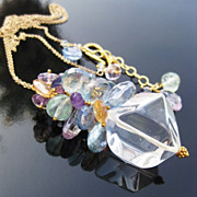 Citrine necklace with pink amethyst --Meryl--