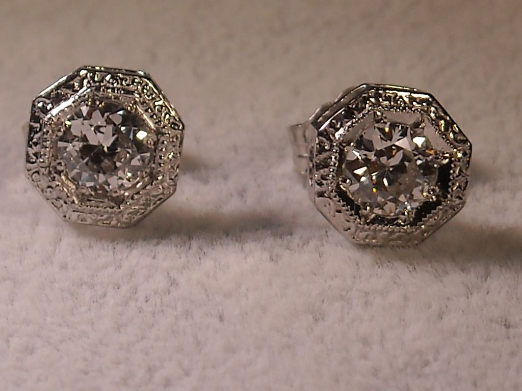 Platinum and 14k Gold and Diamond Stud Earrings, 0.80 Carat Total, European Cut Diamonds