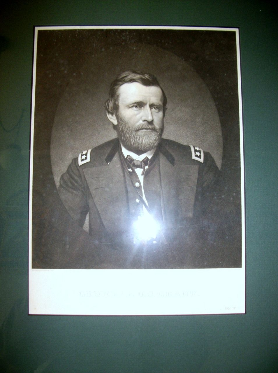1860s.Framed Steel Engraving of Ulysses S.Grant by John Sartain.