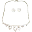 Vintage Crystal Necklace Earring Set Mounted on  Silver Tone Chain