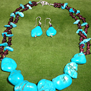 SALE Gorgeous Turquoise Nugget Set on Garnet Necklace With Earrings Set